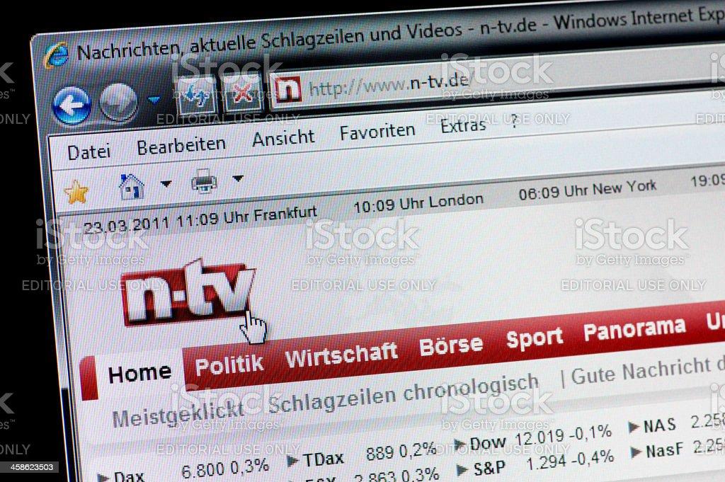 n-tv - Macro shot of real monitor screen stock photo
