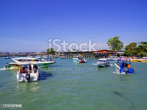 Ban Phe, Thailand - January 3, 2020: Boats in the Nuanthip Pier.