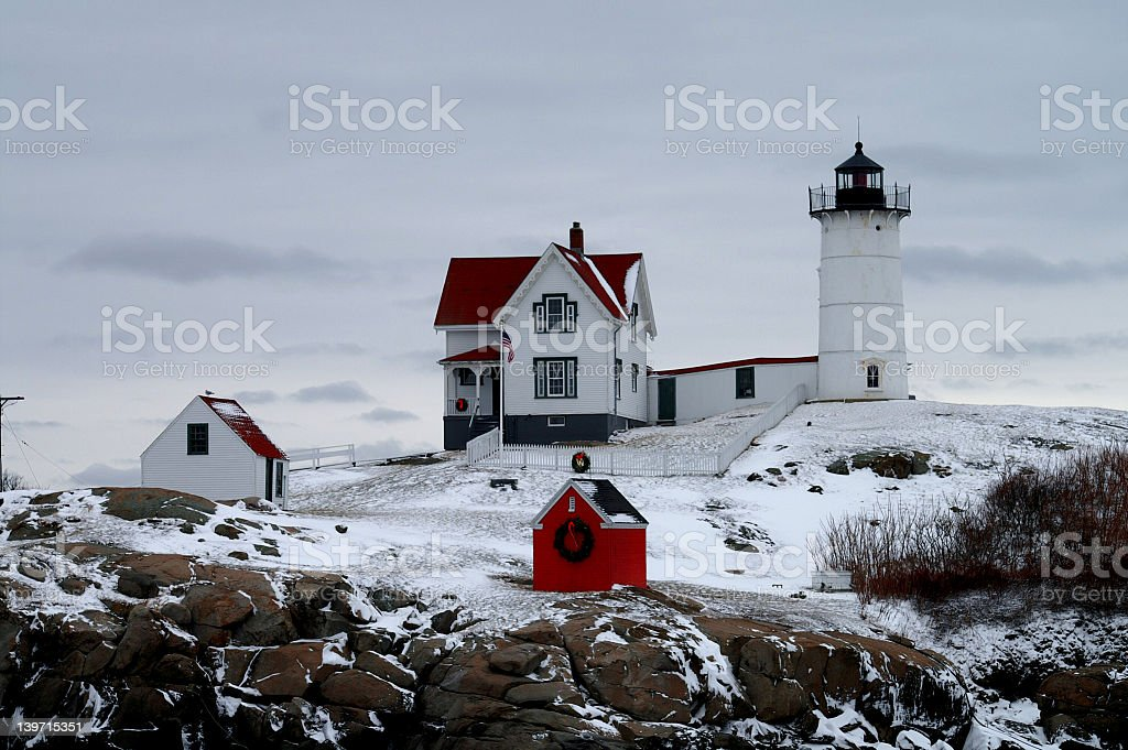Nubble Light Lighthouse stock photo