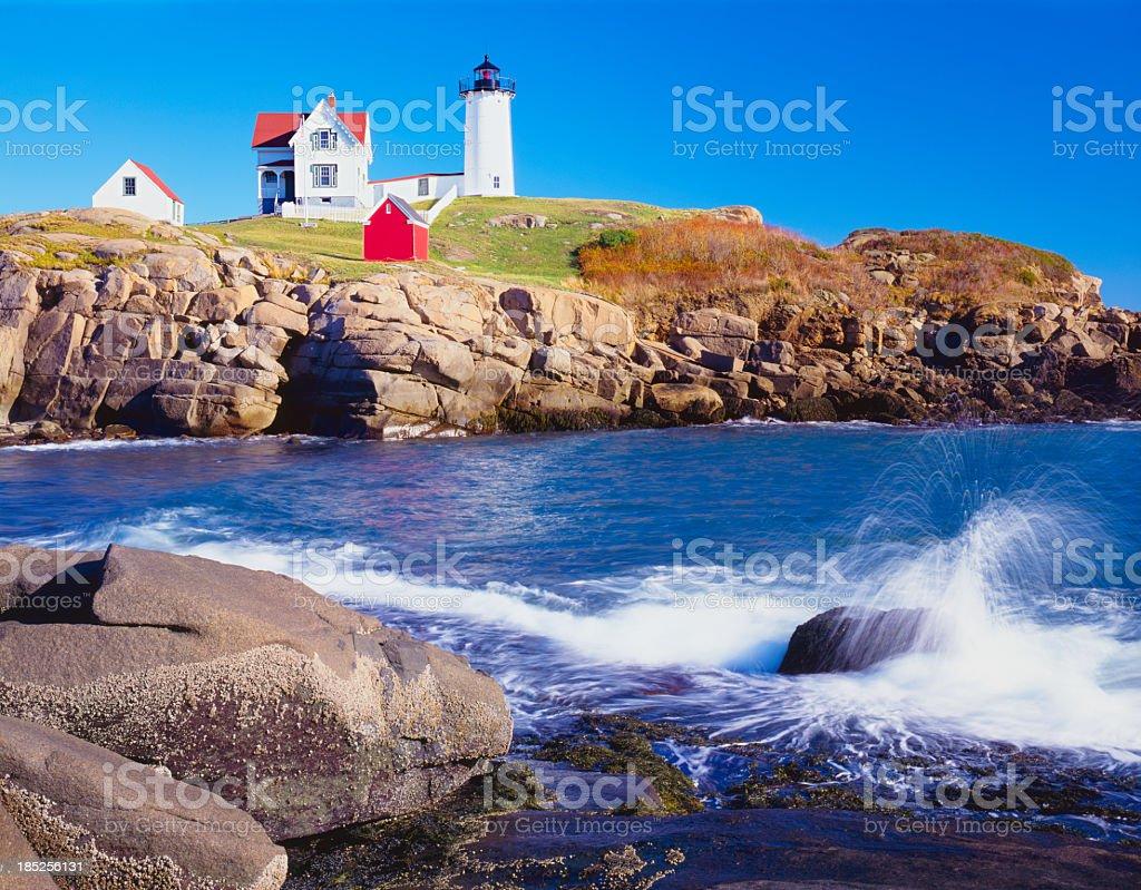 Nubble lighthouse and Coastine of Maine stock photo