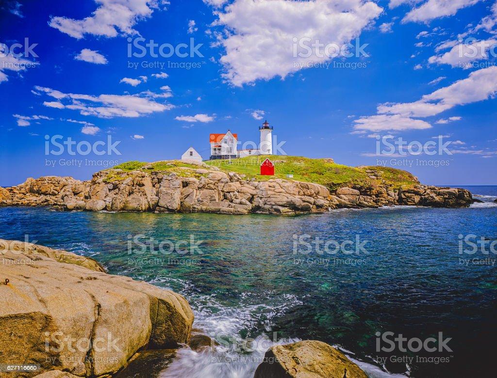Nubble Lighthouse on the Coastline of Maine stock photo