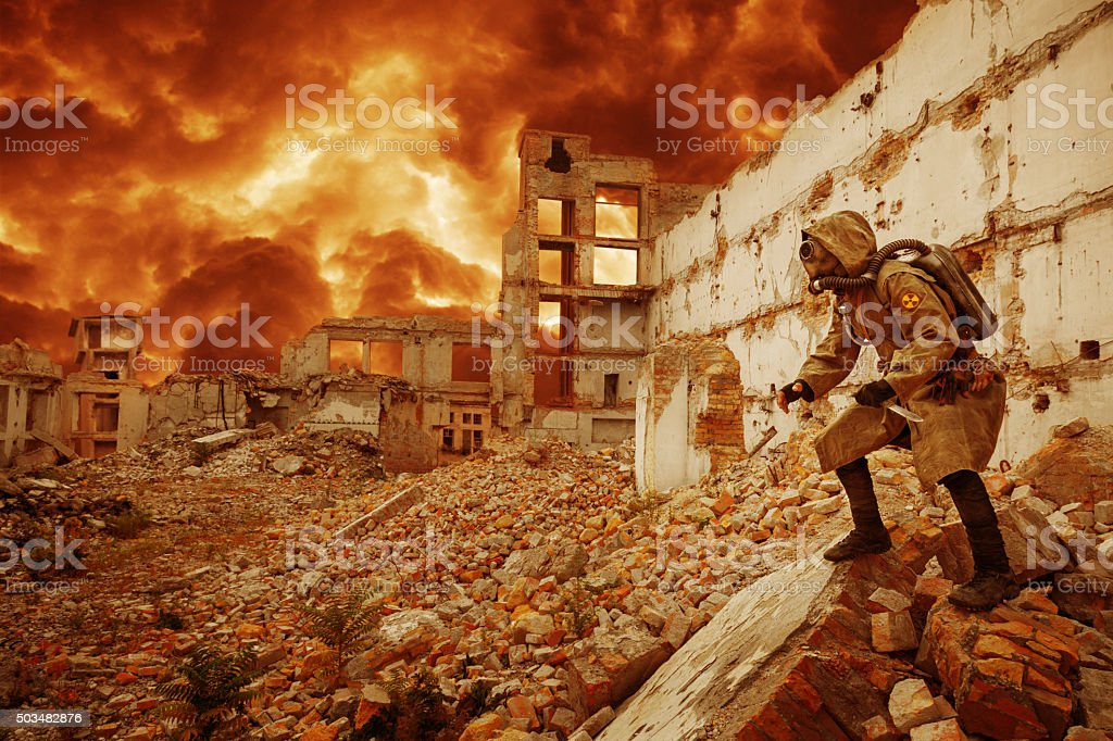 Nuclear apocalypse survivor stock photo