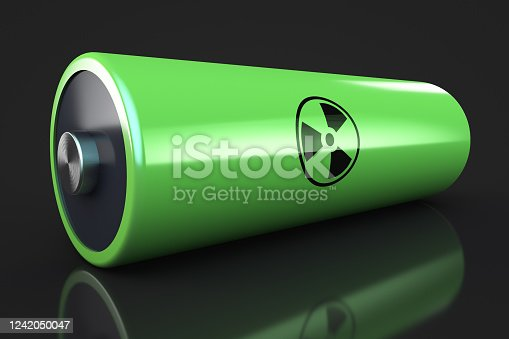 istock Nuclear battery. Infinite energy concept. Dark background 1242050047