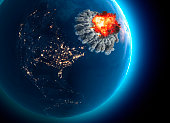 Nuclear bomb. War between nations, explosion, cataclysm. Extinction. Enemy attack. 3d rendering. Satellite view of the Earth