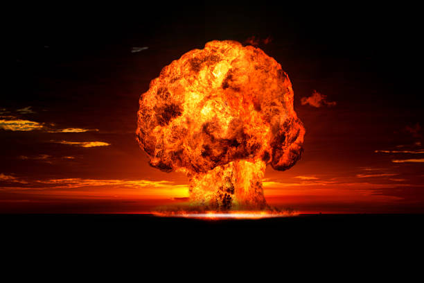 Nuclear explosion in an outdoor setting. Nuclear explosion in an outdoor setting. Symbol of environmental protection and the dangers of nuclear energy radioactive contamination stock pictures, royalty-free photos & images