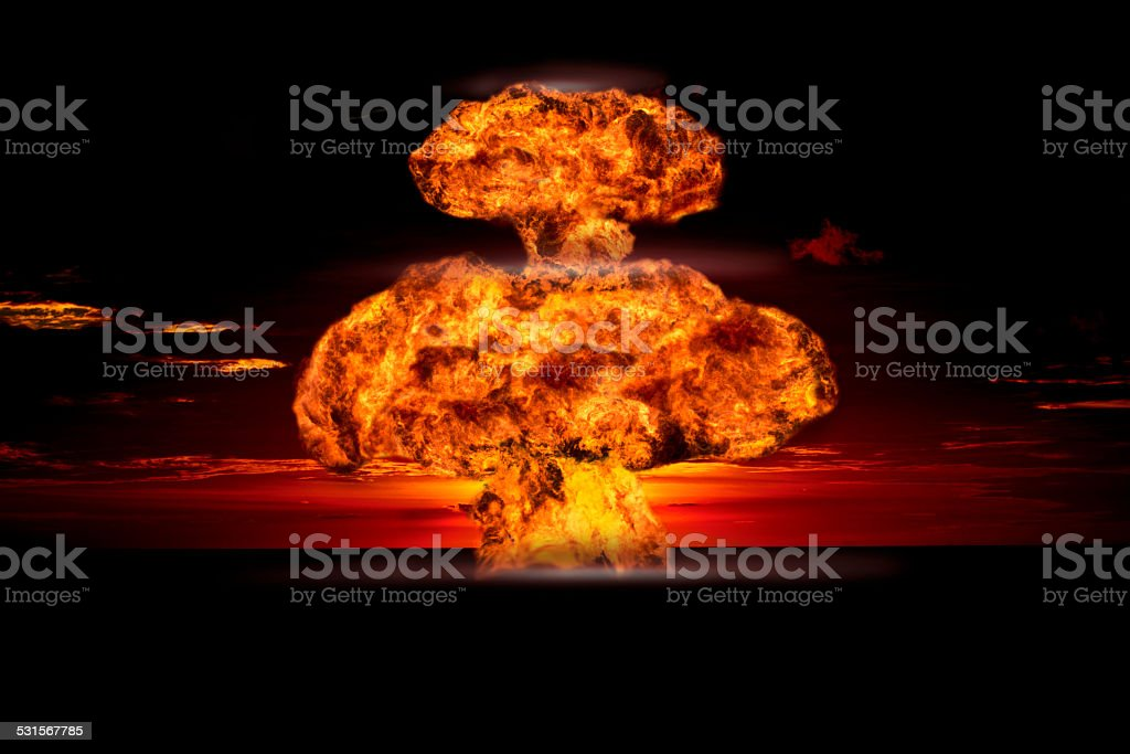 Nuclear explosion in an outdoor setting stock photo