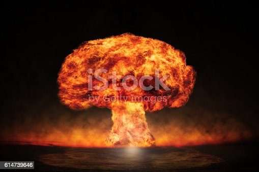 istock Nuclear explosion in an outdoor setting. Symbol of environmental 614739646