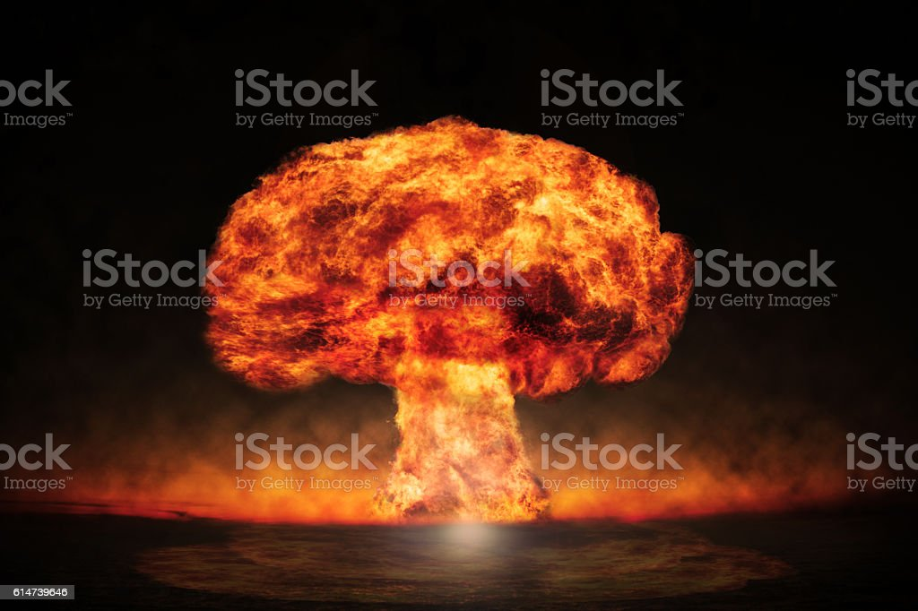 Nuclear explosion in an outdoor setting. Symbol of environmental stock photo