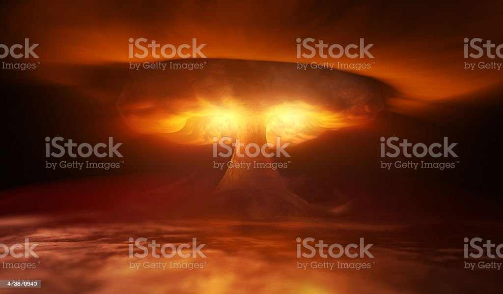 Nuclear Explosion Nuclear Explosion and waves in sky 2015 Stock Photo