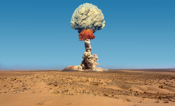 Nuclear explosion. Imitation of nuclear explosion. radioactive contamination stock pictures, royalty-free photos & images