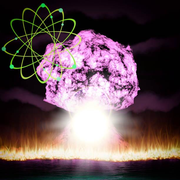 nukleare explosion mit symbol der atomenergie 3d-rendering - pilze bestimmen stock-fotos und bilder