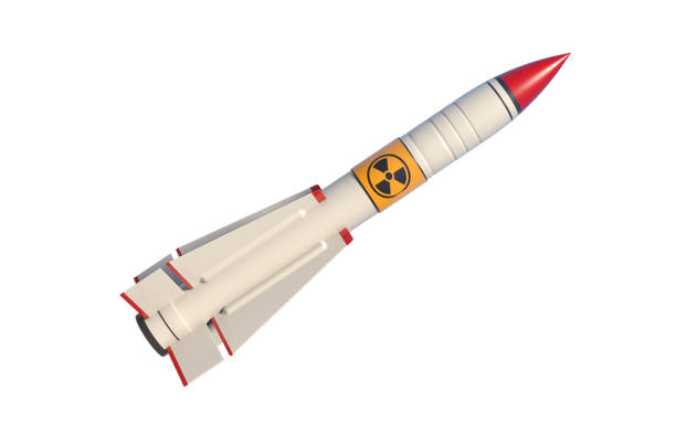 Nuclear Missile Isolated On White Background Nuclear missile isolated on white background. Horizontal composition with copy space and selective focus. Clipping path is included. Nuclear war concept. radioactive contamination stock pictures, royalty-free photos & images