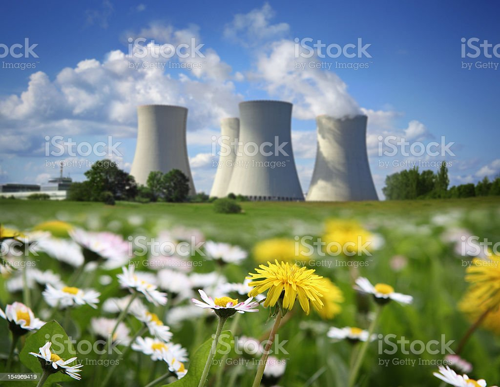 Nuclear Power Plant and Flowering Meadow stock photo