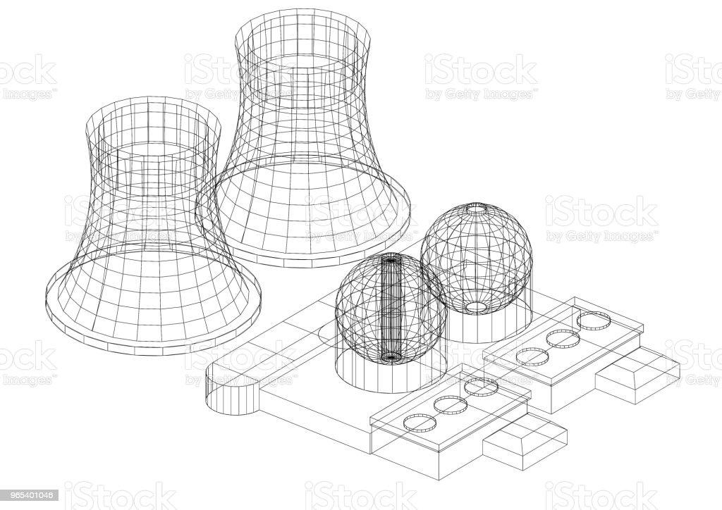 Plan d'architecte centrale nucléaire - isolé - Photo de Alimentation électrique libre de droits