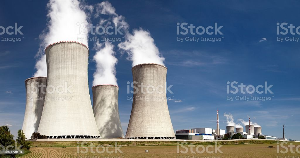 Nuclear power plant Dukovany - cooling towers stock photo
