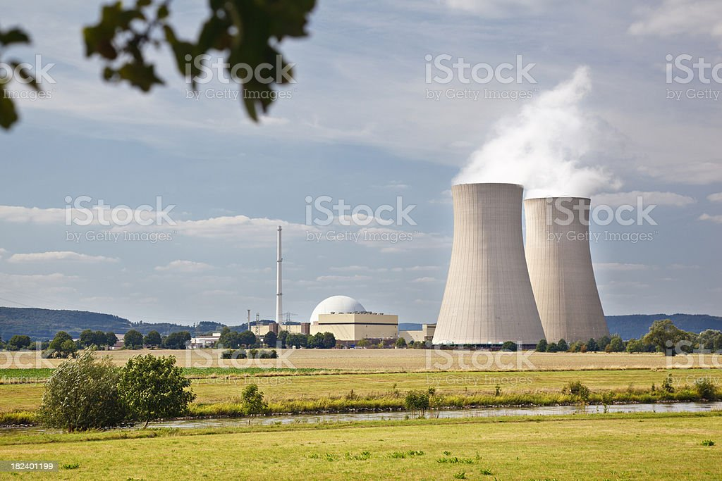 Nuclear Power Plant In River Landscape royalty-free stock photo
