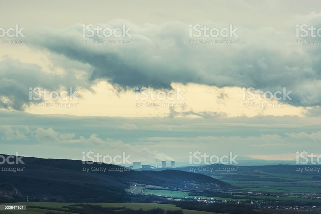 Nuclear power plant Mochovce and dramatic sky in Slovak republic stock photo