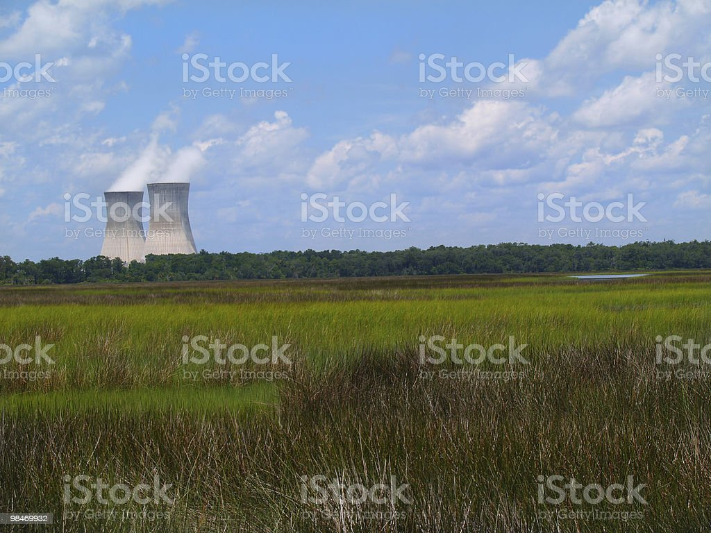 Nuclear Power Plant Next to a Florida Marsh royalty-free stock photo