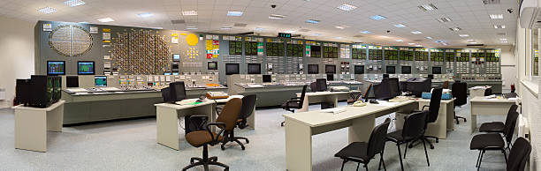 Nuclear power plant outdated control room stock photo