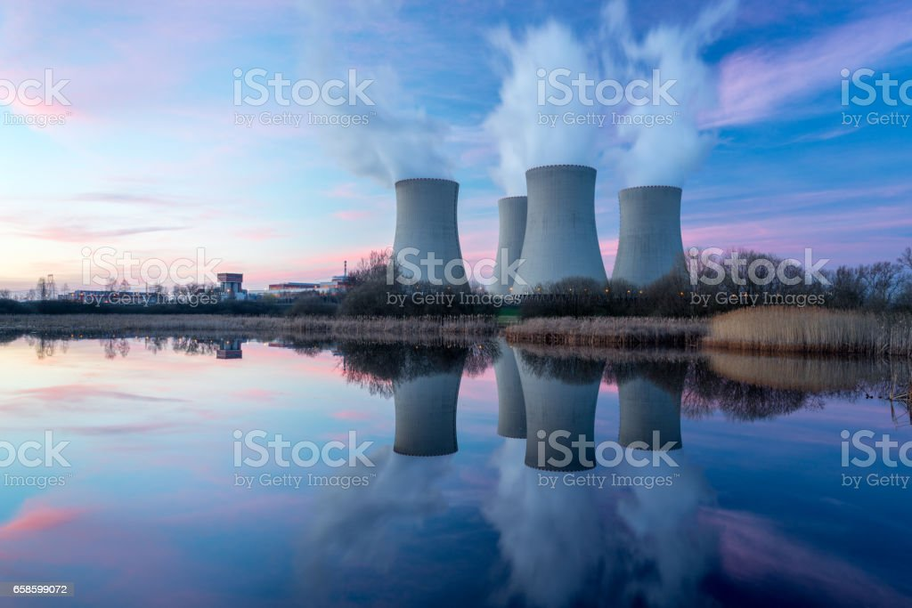 Nuclear power plant with dusk landscape. stock photo