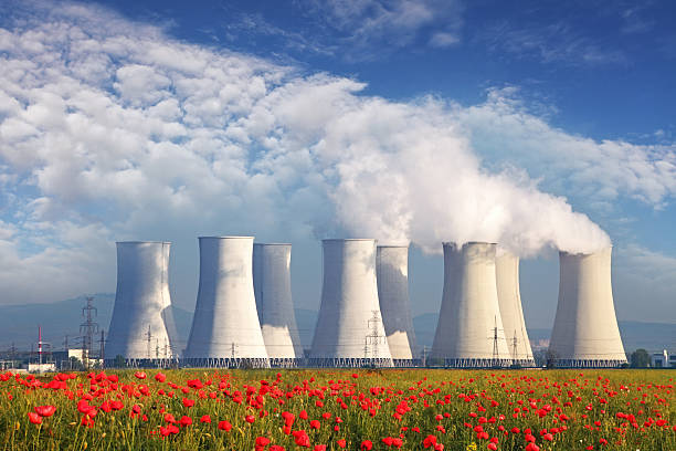 Nuclear Power plant with red field and blue sky Nuclear Power plant with red field and blue sky nuclear power station stock pictures, royalty-free photos & images