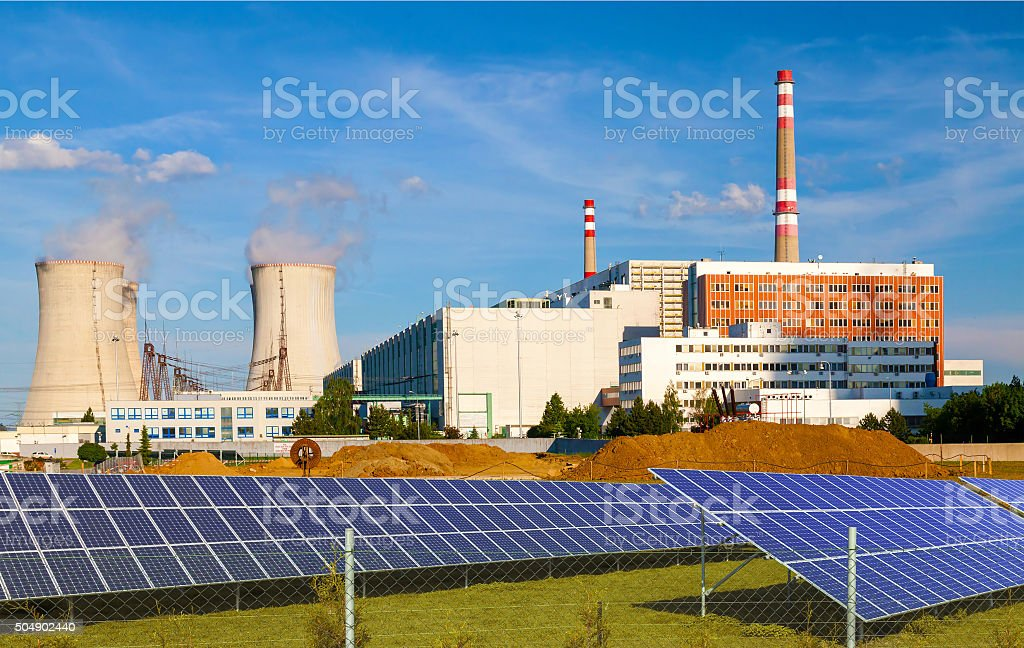 Nuclear power plant with solar panels in Czech Republic Europe stock photo