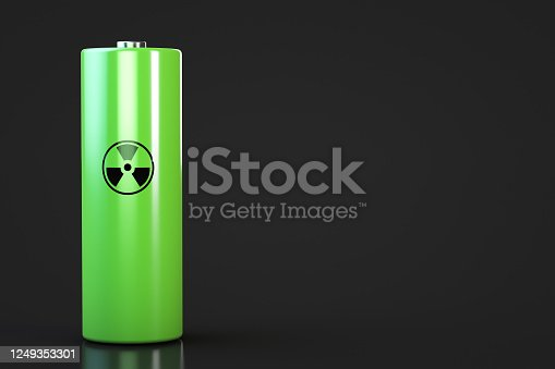 istock Nuclear power source. Dark background. Copy space. 1249353301