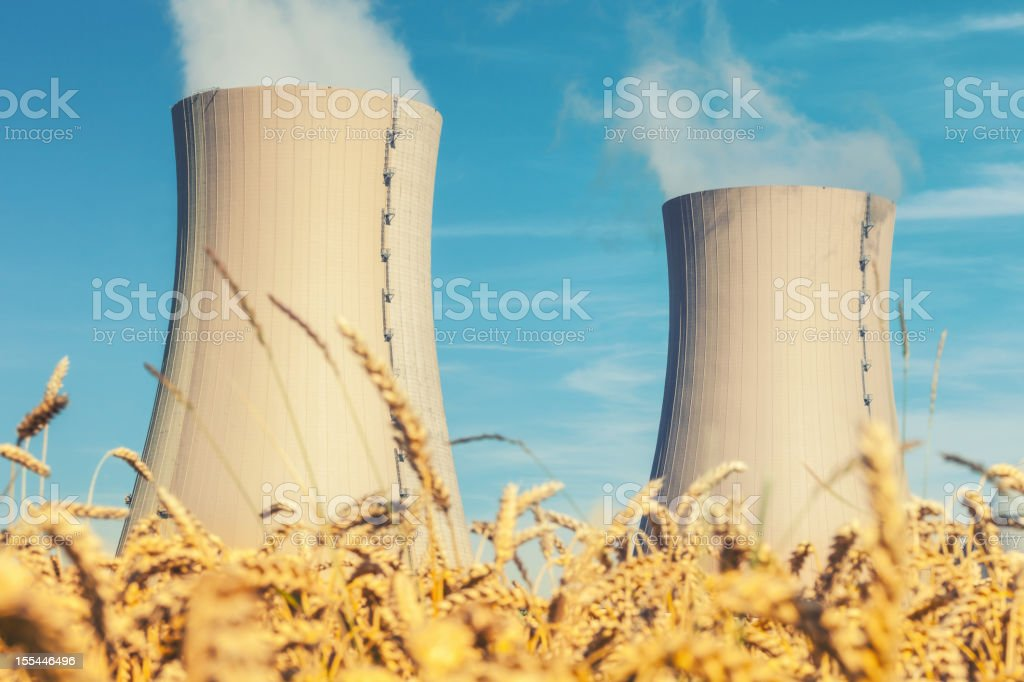 Nuclear Power Station and wheat field stock photo
