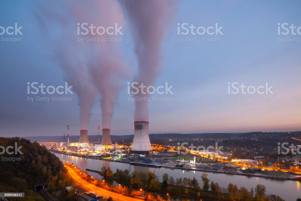 Nuclear Power Station At Dusk stock photo