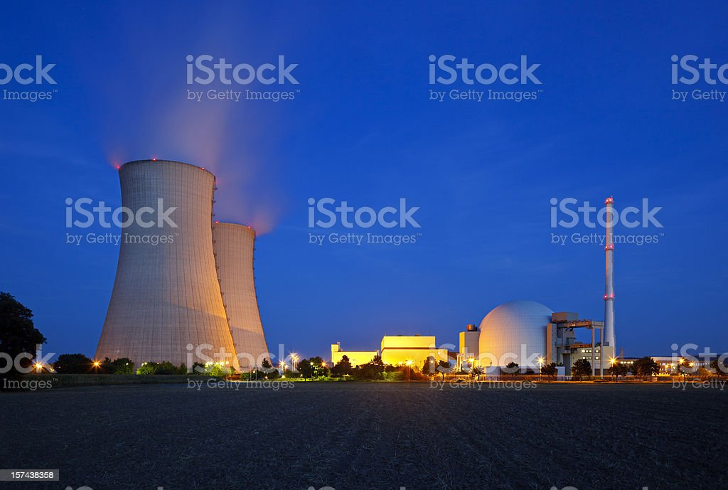 Nuclear Power Station At Night royalty-free stock photo