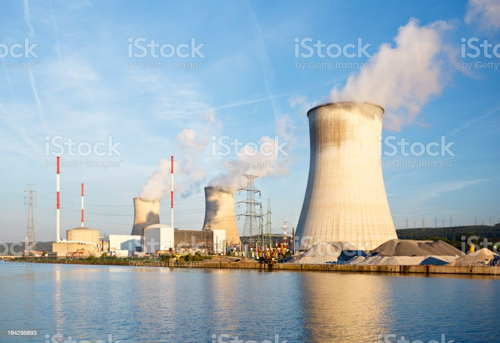 Nuclear Power Station At River stock photo