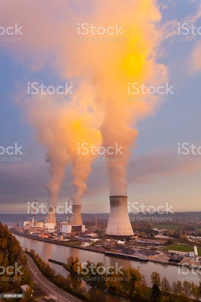 Nuclear Power Station At Sunset stock photo