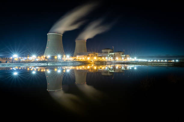 Nuclear power station during a sunset Nuclear power station during a sunset nuclear power station stock pictures, royalty-free photos & images