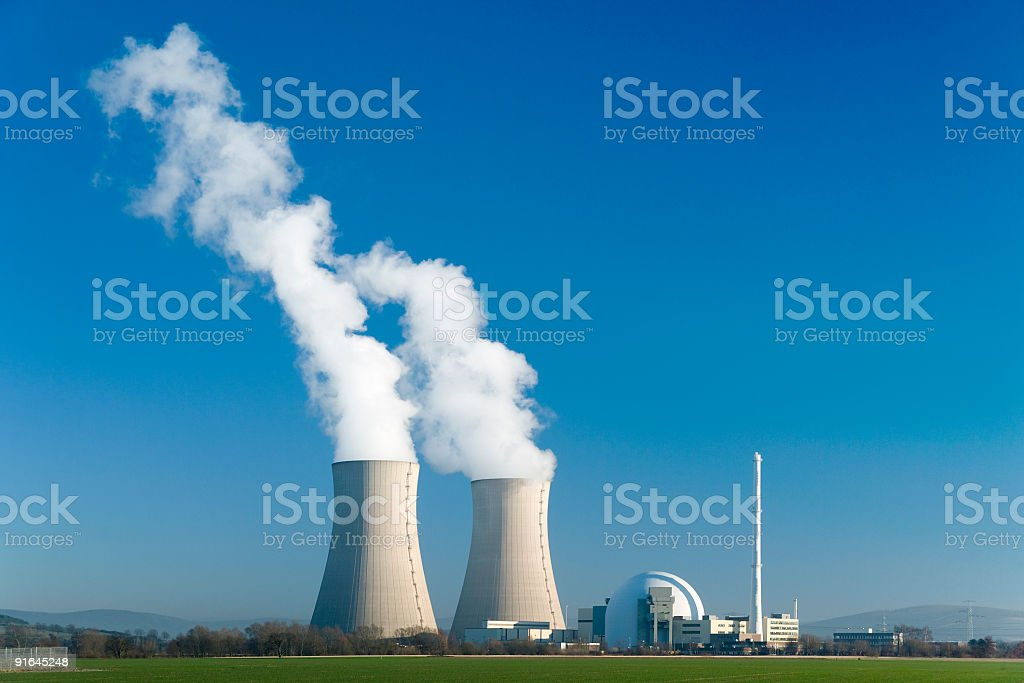 Nuclear power station Grohnde with blue sky stock photo