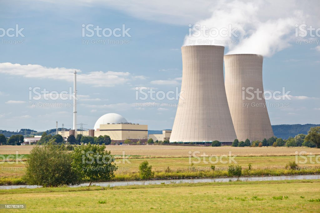 Nuclear Power Station In River Landscape royalty-free stock photo