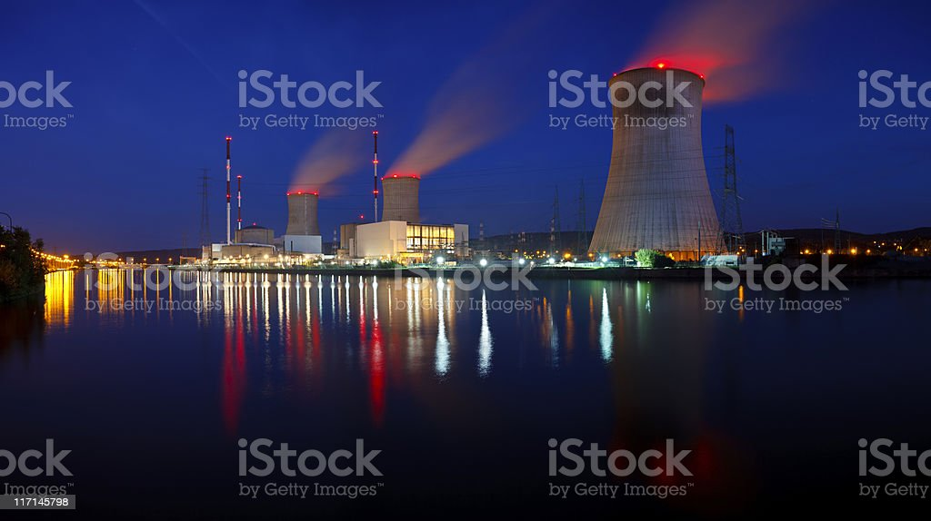 Nuclear Power Station Panorama At Night stock photo