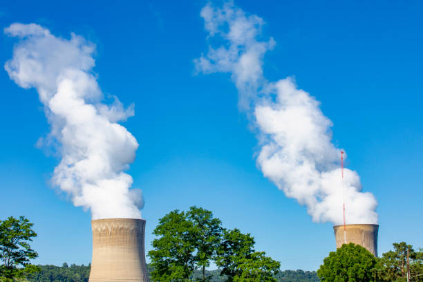 Nuclear Power Towers Two nuclear power plant cooling towers. sdominick stock pictures, royalty-free photos & images