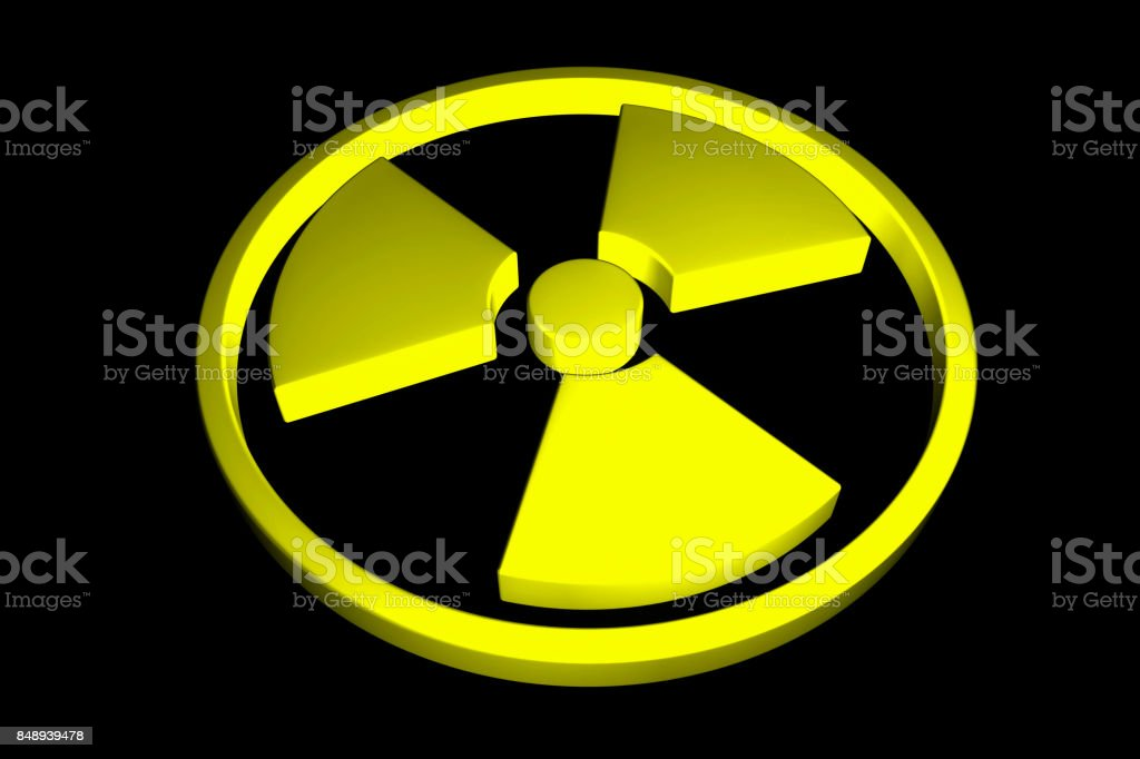 Nuclear sign isolated on black background. 3D rendering - foto stock