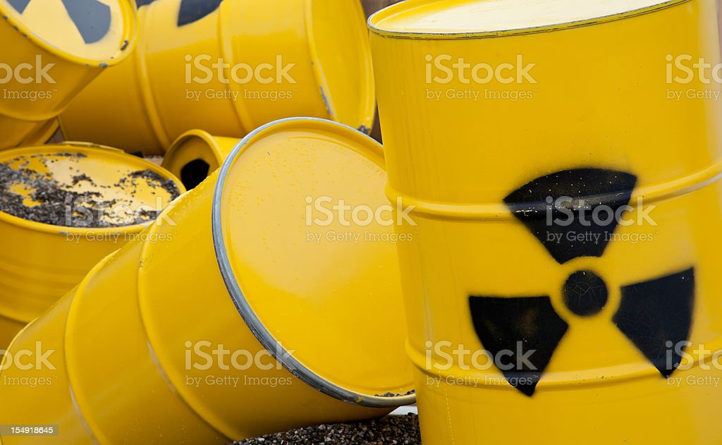nuclear waste barrel stock photo