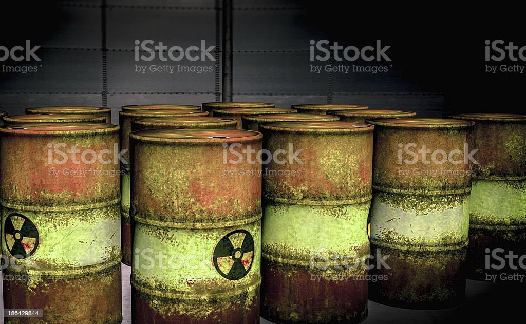 Nuclear Waste Barrels stock photo