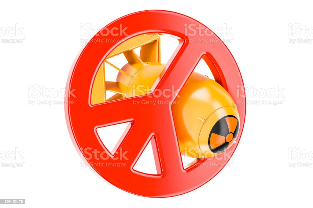 Nuclear weapons prohibition concept, 3D rendering isolated on white background stock photo