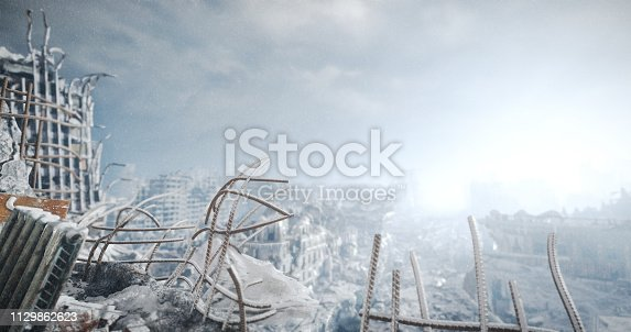Digitally generated accurate scene of destroyed city/post nuclear urban scene with ruined architecture (nuclear winter).
