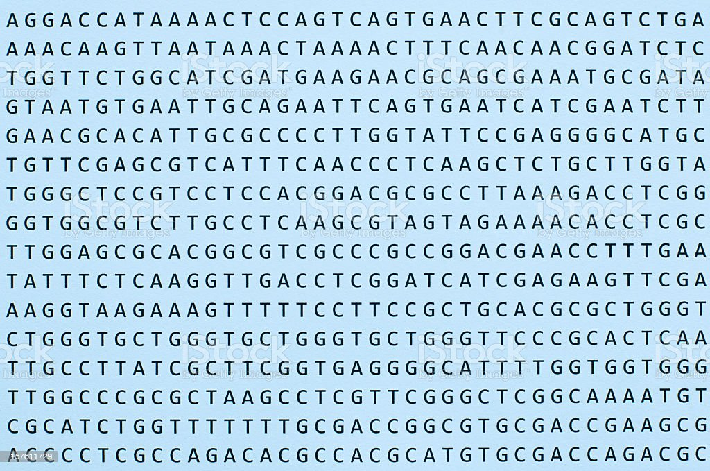 DNA nucleotide sequence printout on paper horizontal orientation stock photo