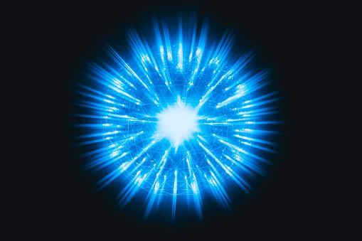 Nucleus Of Atom Nuclear Explode Atomic Bomb Red Hot Ray Radiation Blue Light Science Illustration Concept - zdjęcia stockowe i więcej obrazów Abstrakcja
