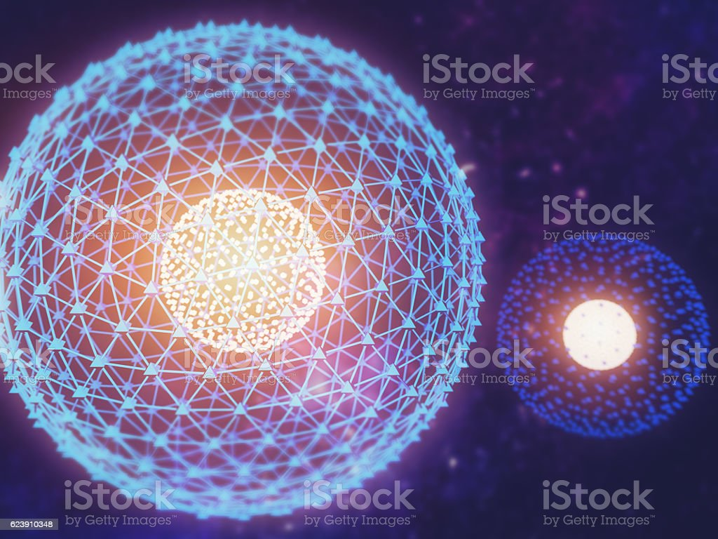 Nucleus of Atom Nuclear explode ray radiation light science stock photo