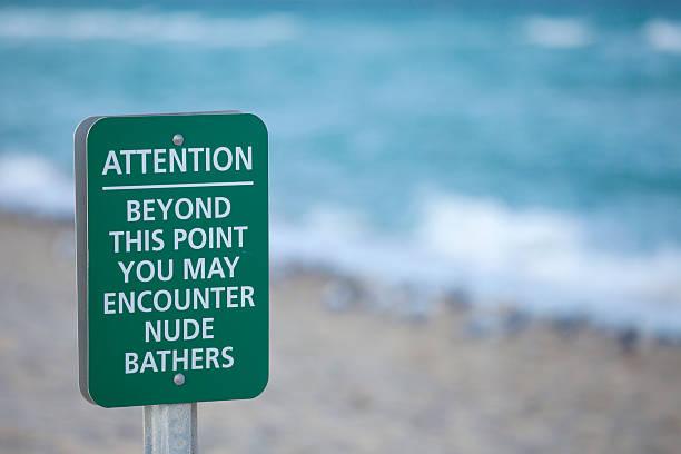 nude beach sign - fkk strand stock-fotos und bilder