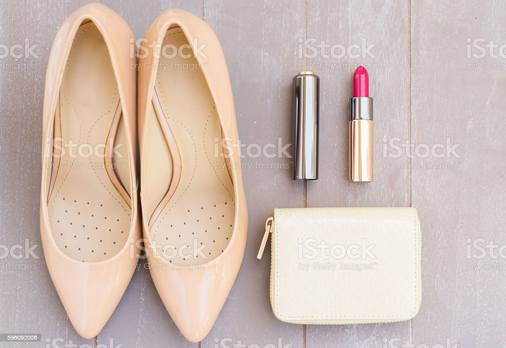 Nude colored high heels still life royalty-free stock photo
