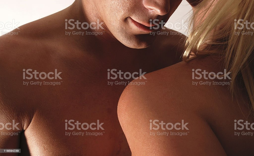 Nude Couple Embracing As In Sexual Foreplay royalty-free stock photo