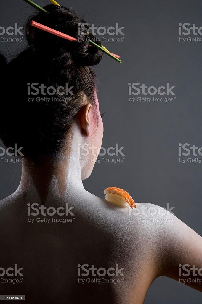 Nude Geisha Girl With Sushi royalty-free stock photo