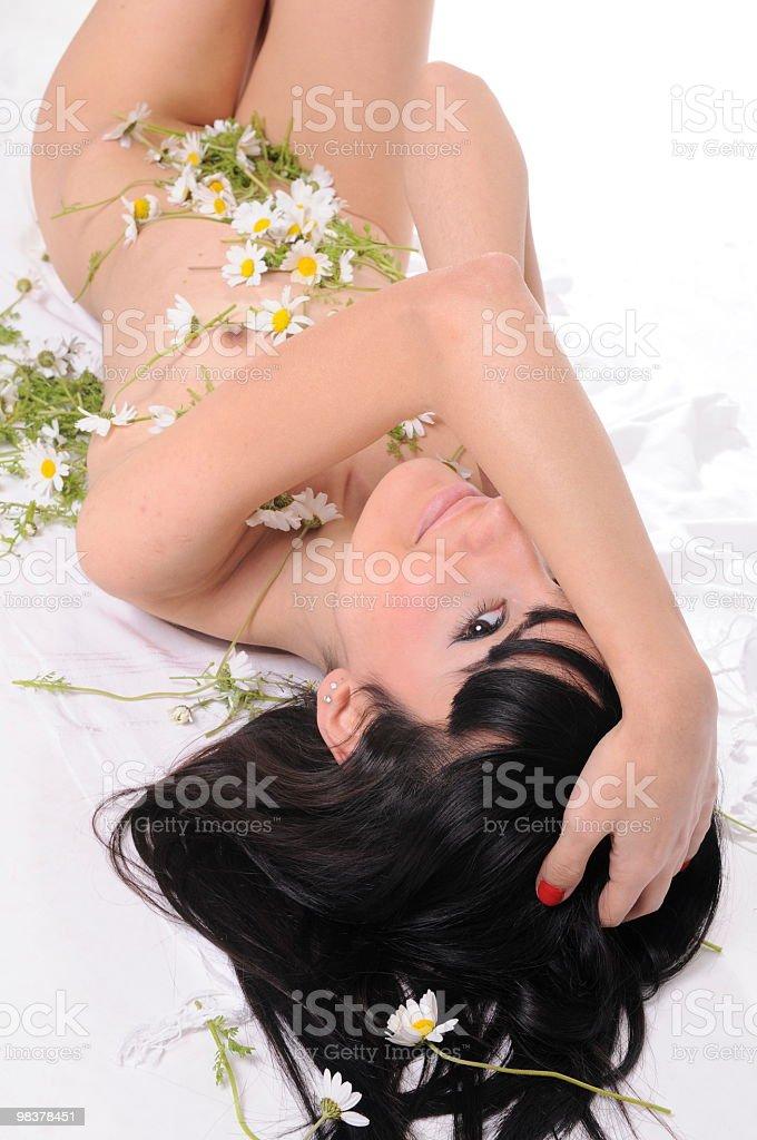 nude model with daisy royalty-free stock photo